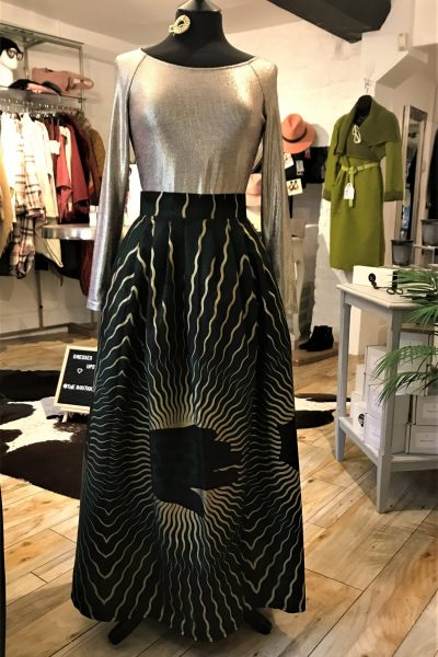 green and gold maxi skirt