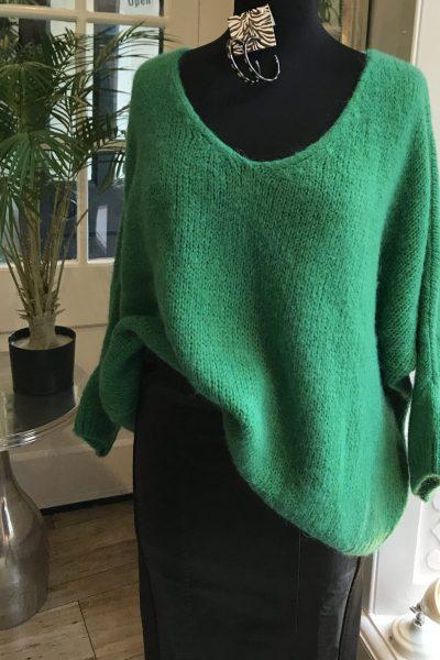 bright green jumper