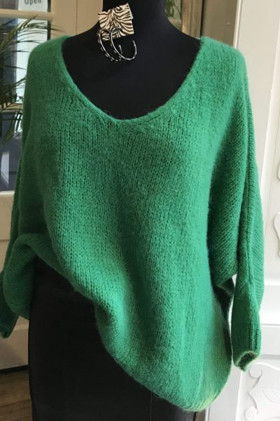 bright green jumper