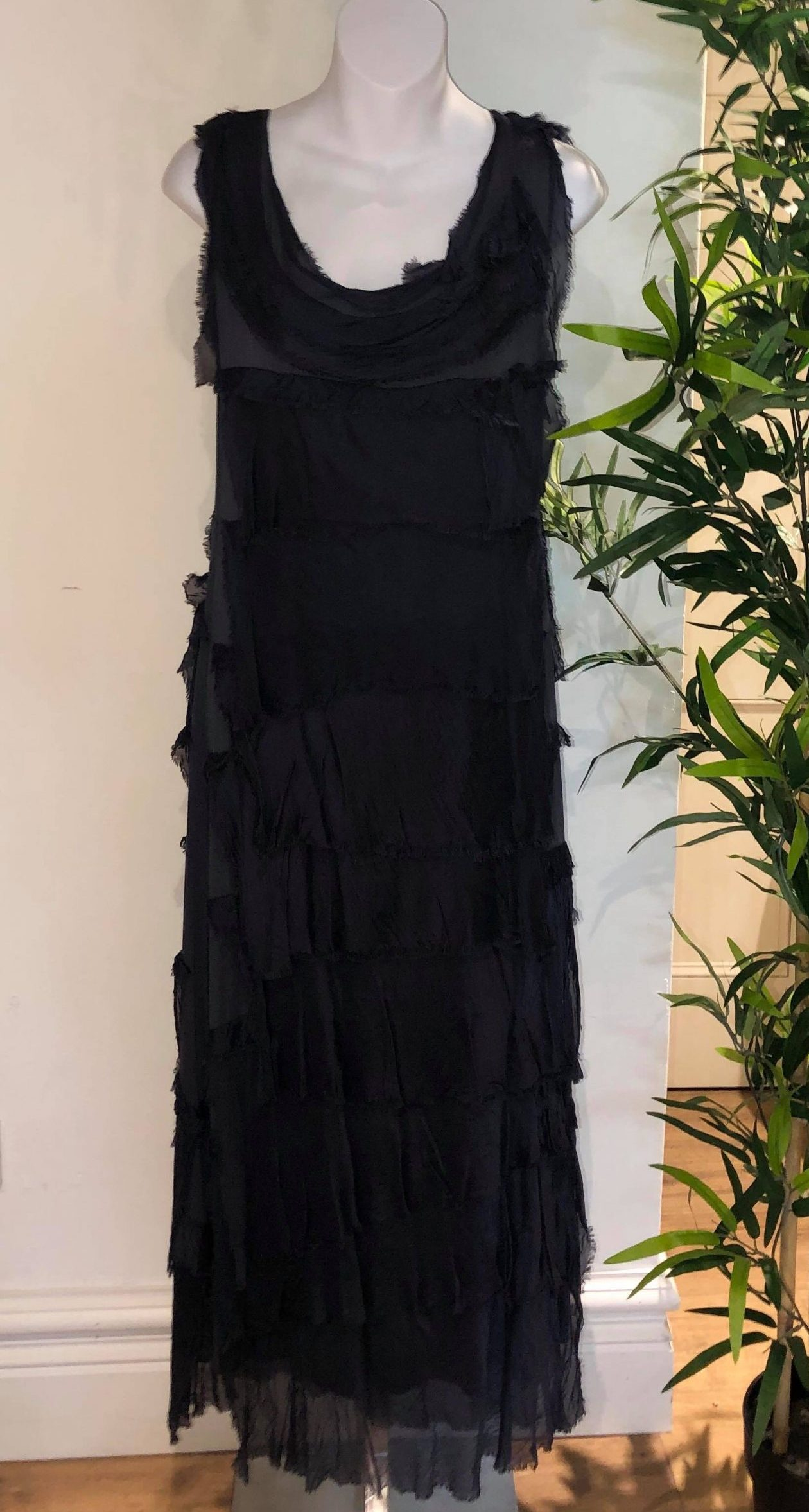 Navy ruffle dress