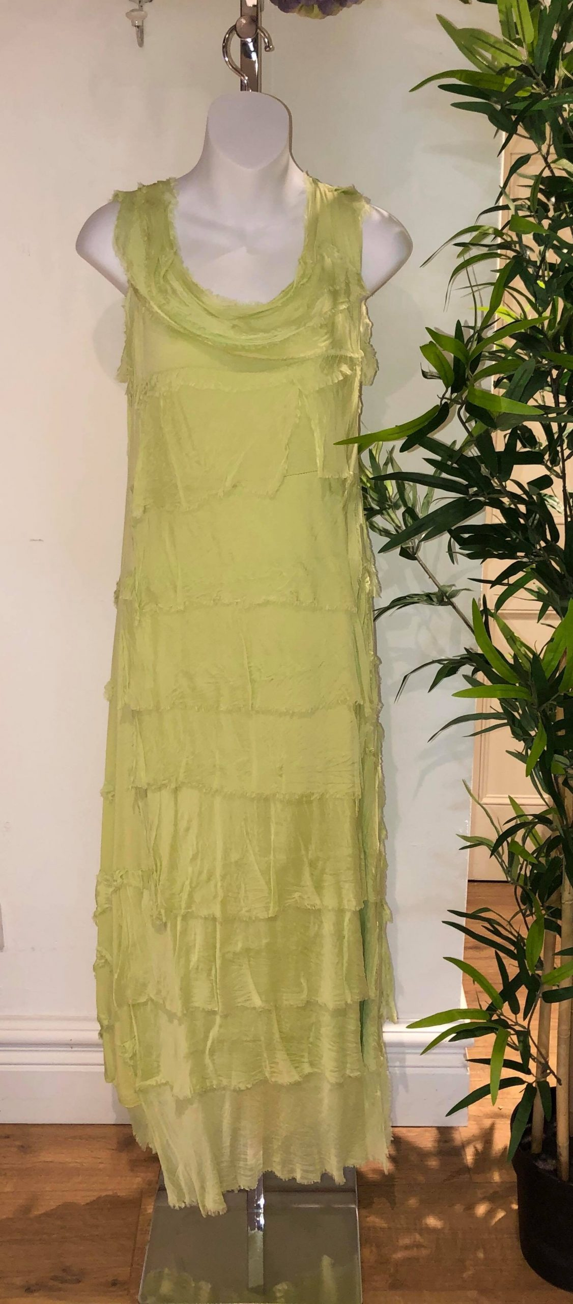 Lime green ruffle dress