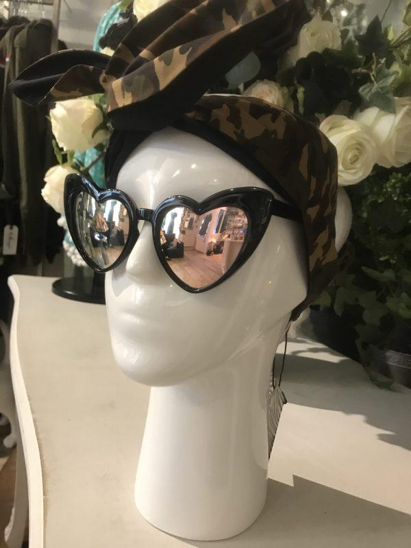 Mirrored black heart glasses