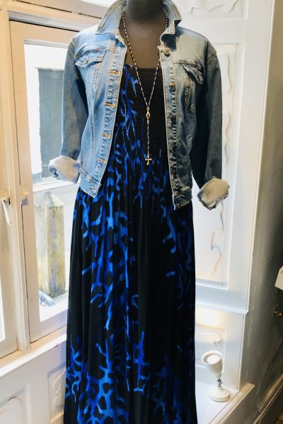 Blue maxi teamed with denim