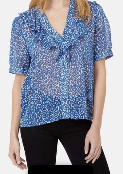 blue leopard ruffle blouse