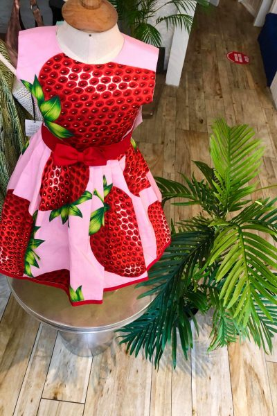 little girls 50s pink strawberry