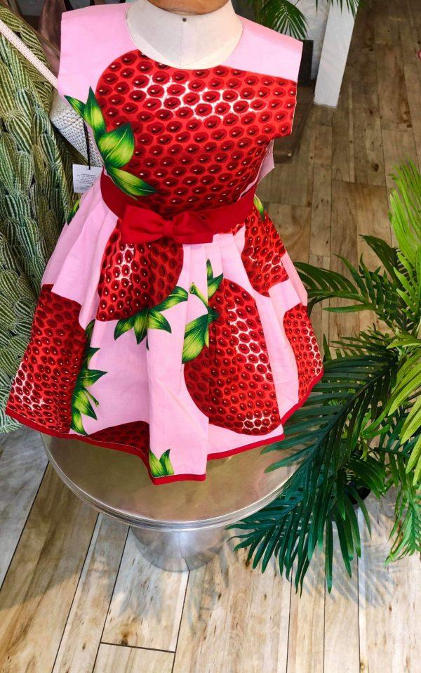 little girls 50s pink strawberry