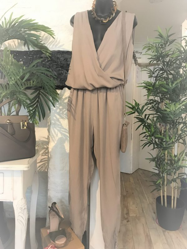 Taupe Crossover Jumpsuit