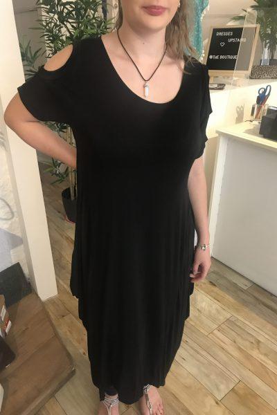 Black cold shoulder jersey dress