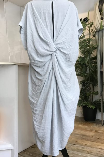 silver grey twisted knot casual dress