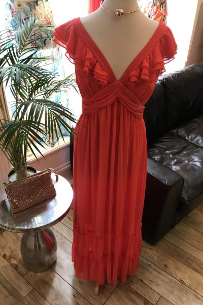 long coral ruffle dress