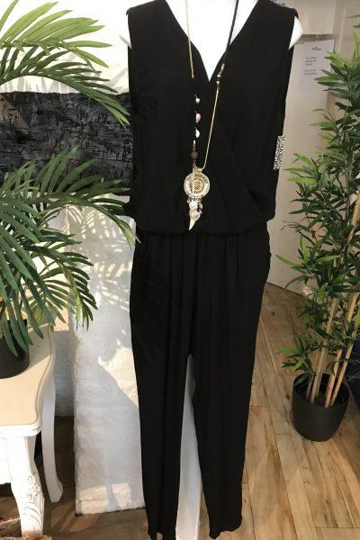 Black soft cotton jumpsuit