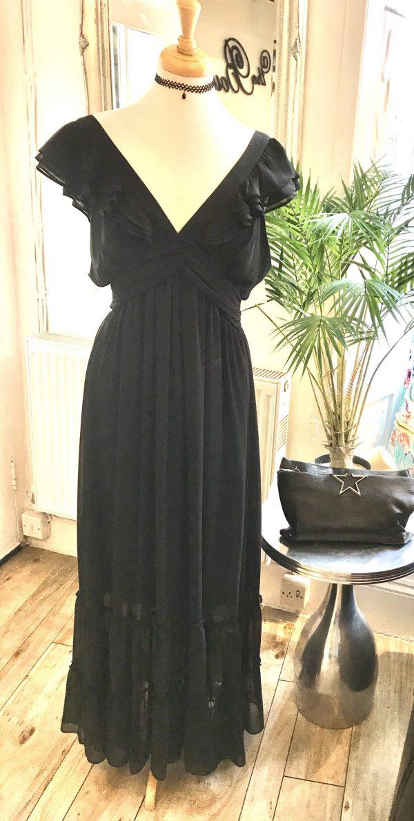 jet black ruffle dress