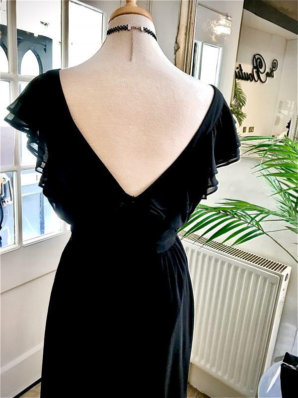V back ruffle dress