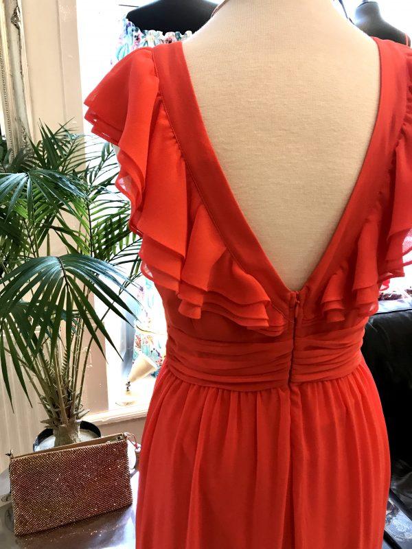 back detail coral ruffle dress