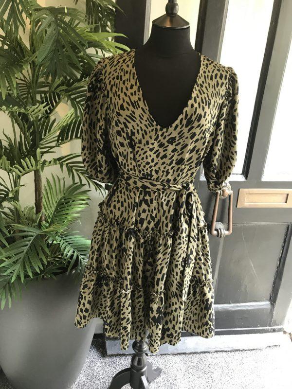 Sage tiered smock dress