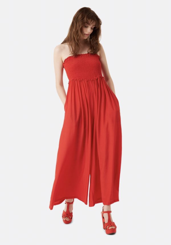 red smocked jumpsuit