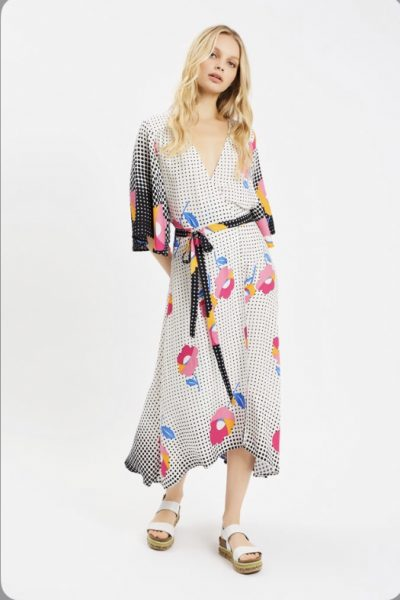 dotty floral wrap dress
