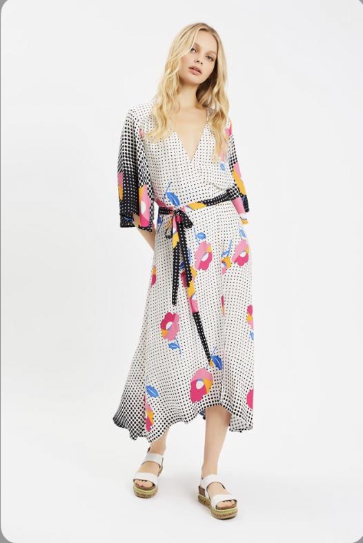 dotty floral wrap dress