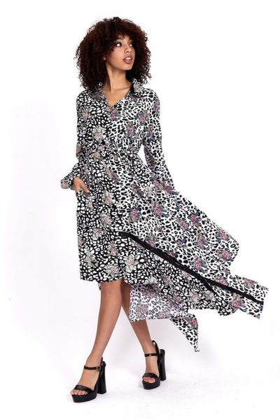 divine grace leopard shirt dress