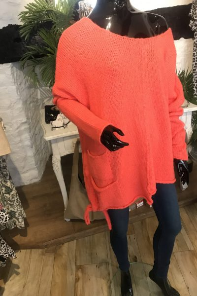 Neon coral jumper