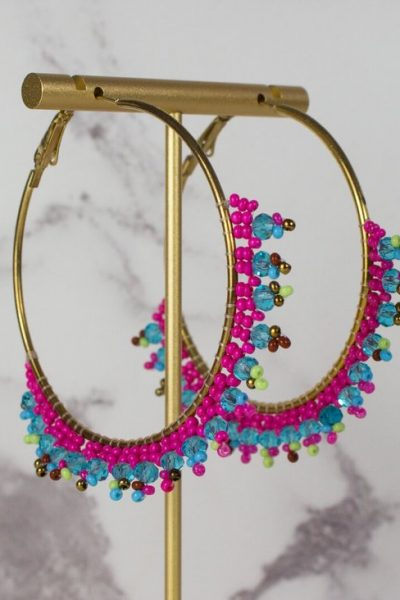 pink blue beaded hoops