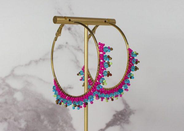 pink blue beaded hoops