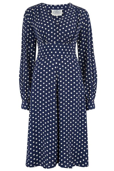 ava dress navy polka