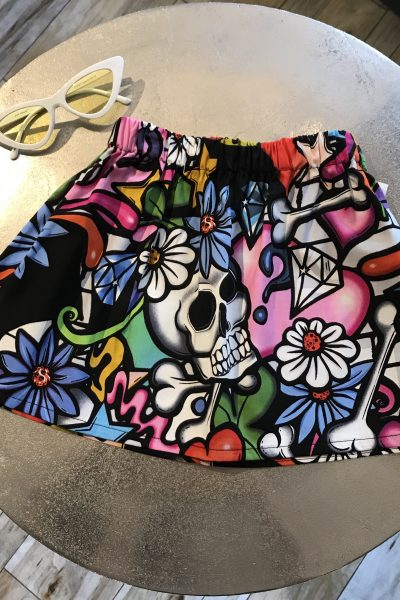 Graffiti art skull skirts