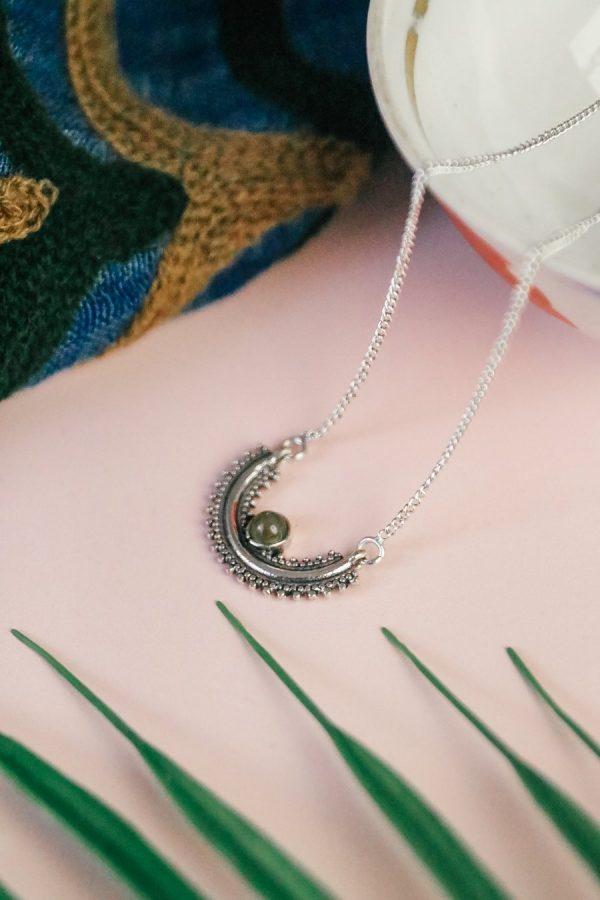 Silver Labradorite semi circle necklace