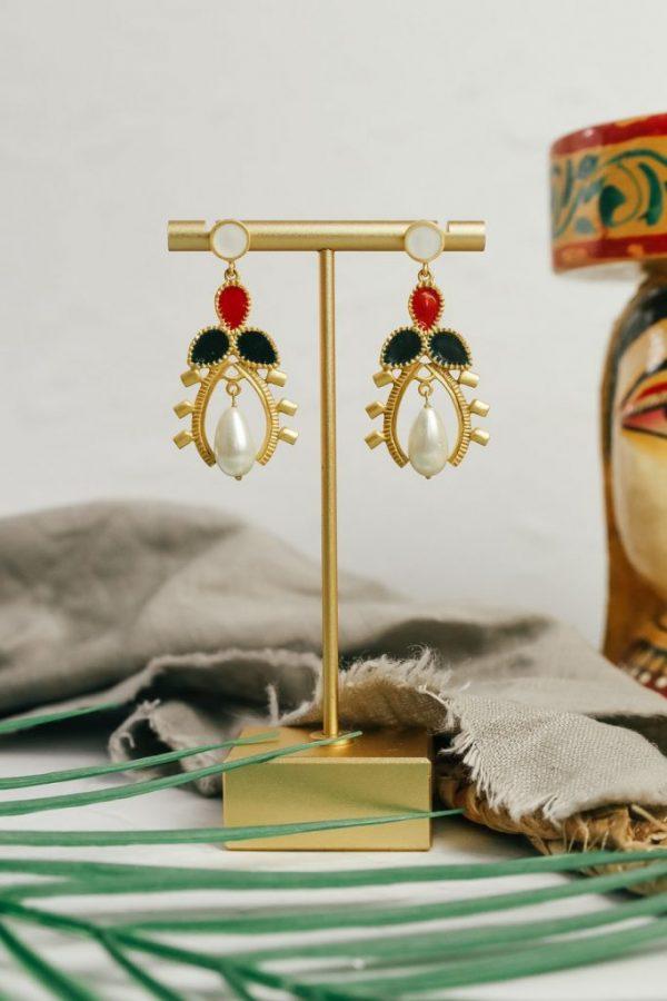 beetle drop earrings
