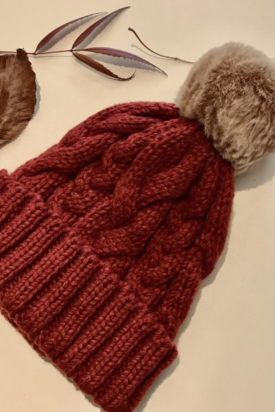 burgundy cable knit bobble hat