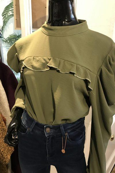 Khaki puff sleeve blouse