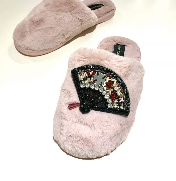 Pink Closed Toe Slippers with Black fan