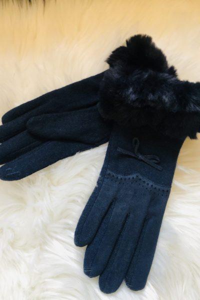 navy faux fur gloves