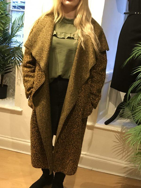 mustard waterfall wool coat