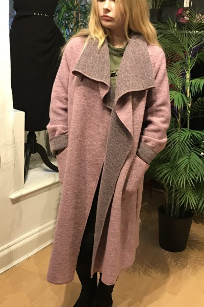 Pink and grey waterfall coat