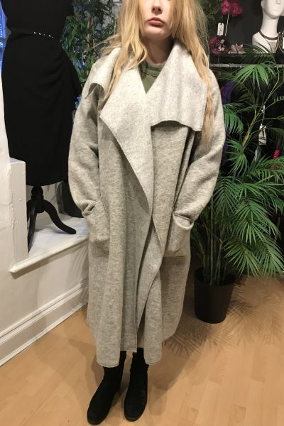 silver beige waterfall coat