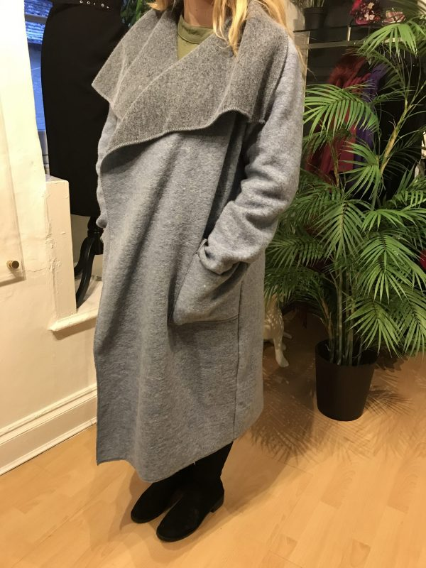 baby blue and grey coat