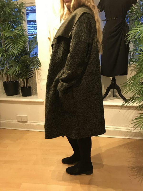 Khaki coat side view