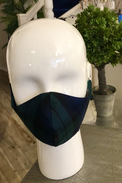 green/blue tartan mask
