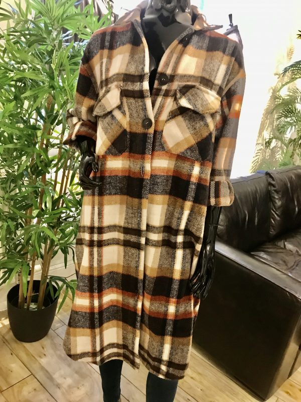 long checked shacket brown