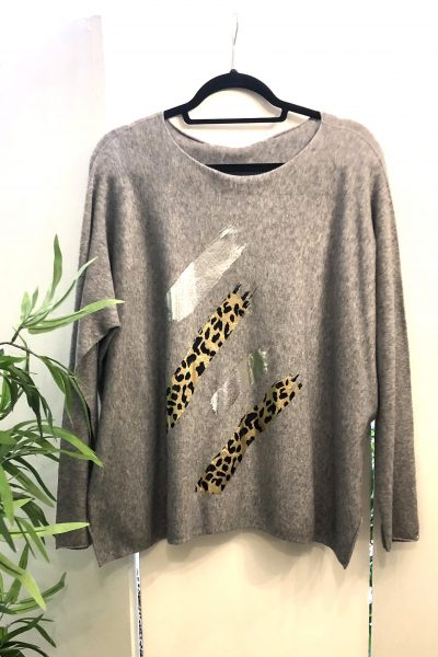 light grey leopard top