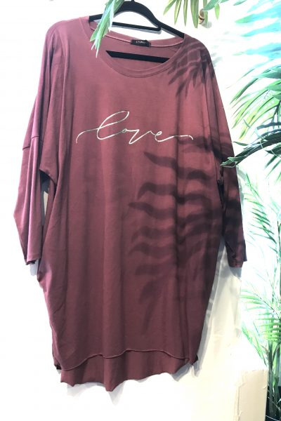 antique rose slouchy love top