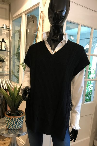 black sleeveless knit