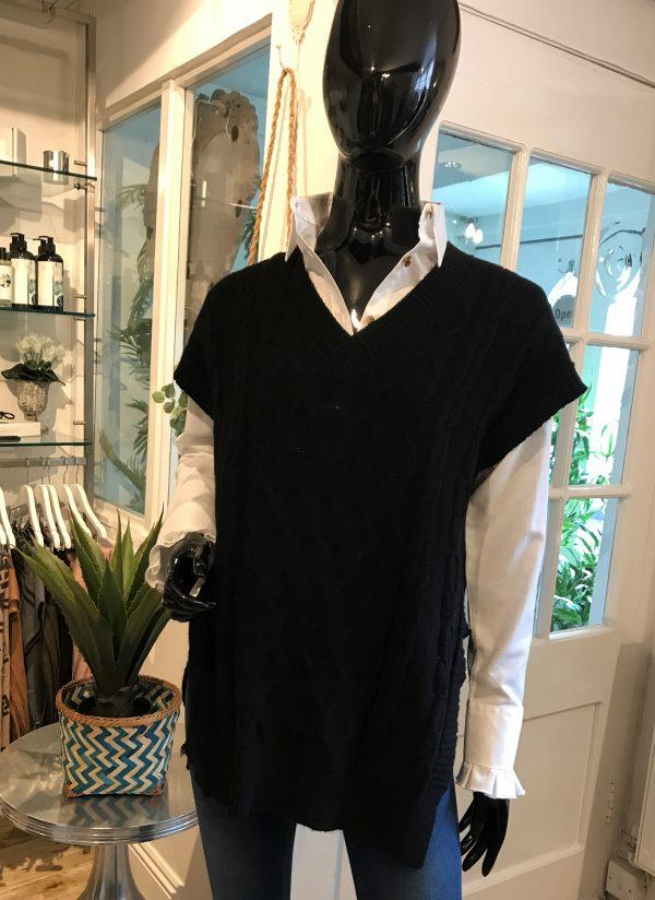 black sleeveless knit