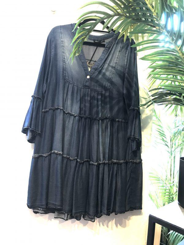 denim tiered mini dress