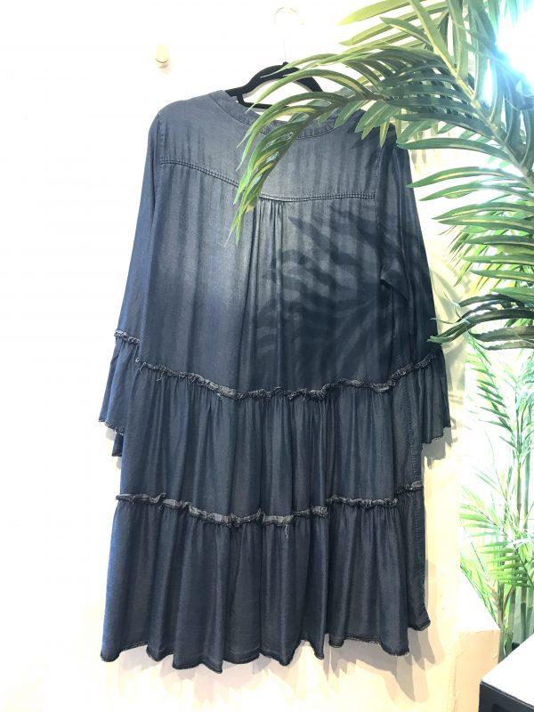 tiered denim mini dress rear