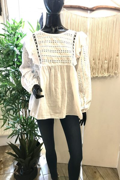 white broderie blouse
