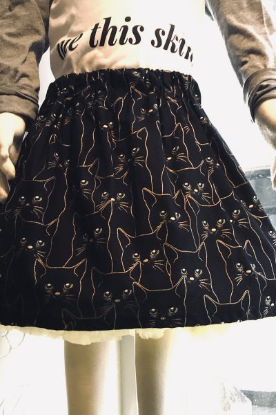 black cat cotton skirt