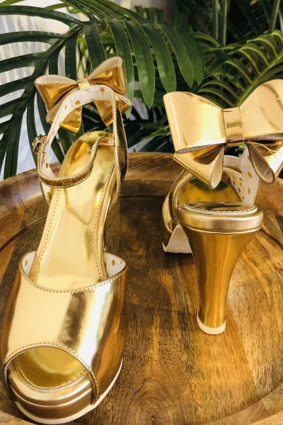 Gold Bow Heels
